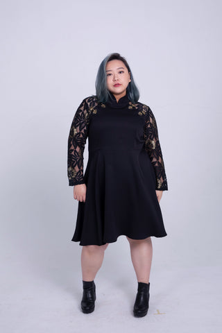 Cheongsam Style Dress With Lace Sleeves