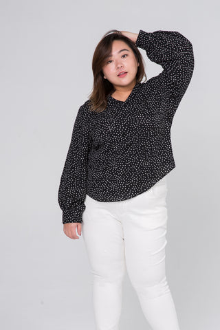 Balloon Sleeves Blouse In Black Dot Print
