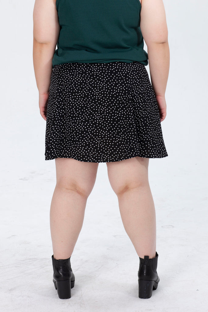 Dot Print Culotte Shorts In Black