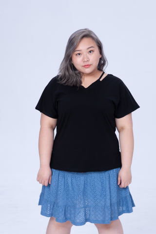 Basic Cutout T-Shirt In Black