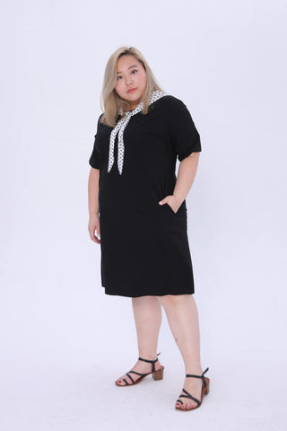 Black Dress With Dot Print Tie Front