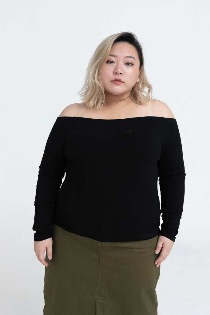 Bardot Top In Rib In Black