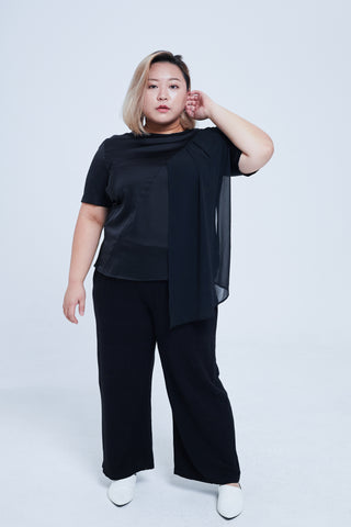 Round Neck Satin Top In Black With Chiffon Details