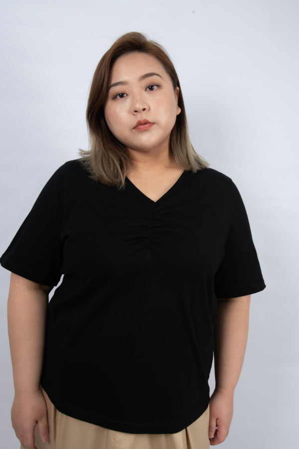 V-Neck Twist Front Top In Black