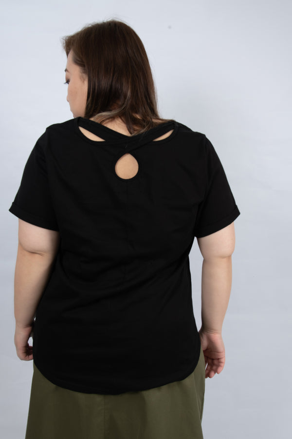 Round Neck Strap Back Top In Black