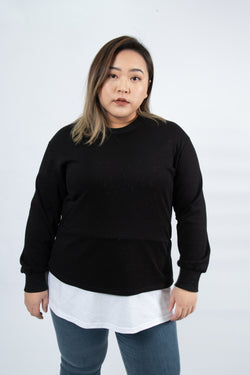 Double Layer Sweatshirt In Black And White