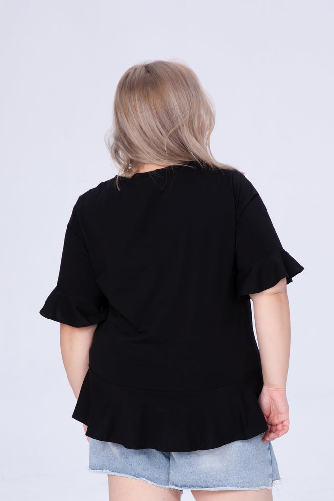 Shirred Front Top In Black