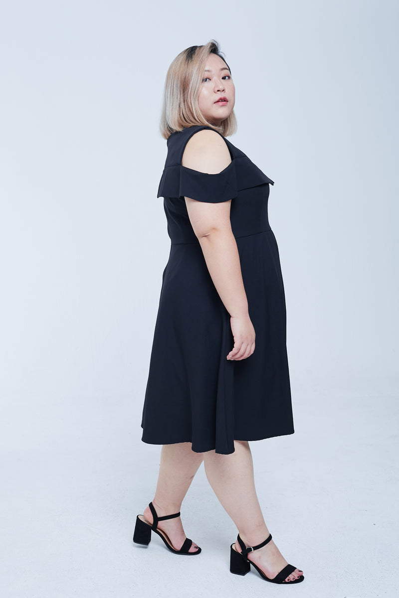 Double Layer Off Shoulder Dress In Black