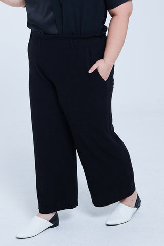 Linen Shirred Waist Wide-leg Trousers In Black