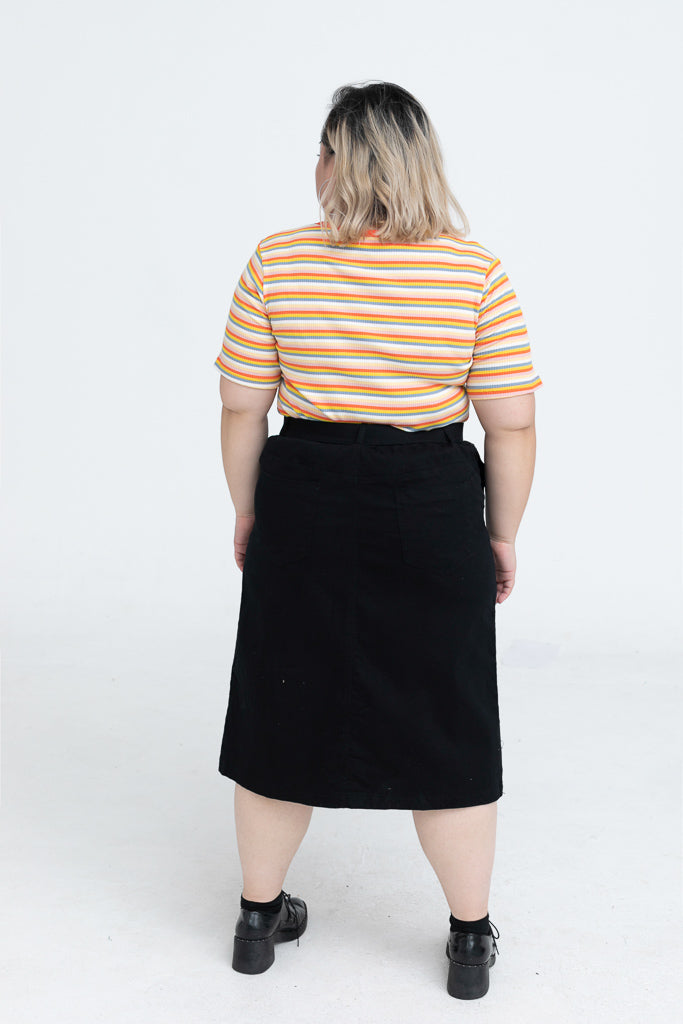 Midi Skirt In Black (With Belt)
