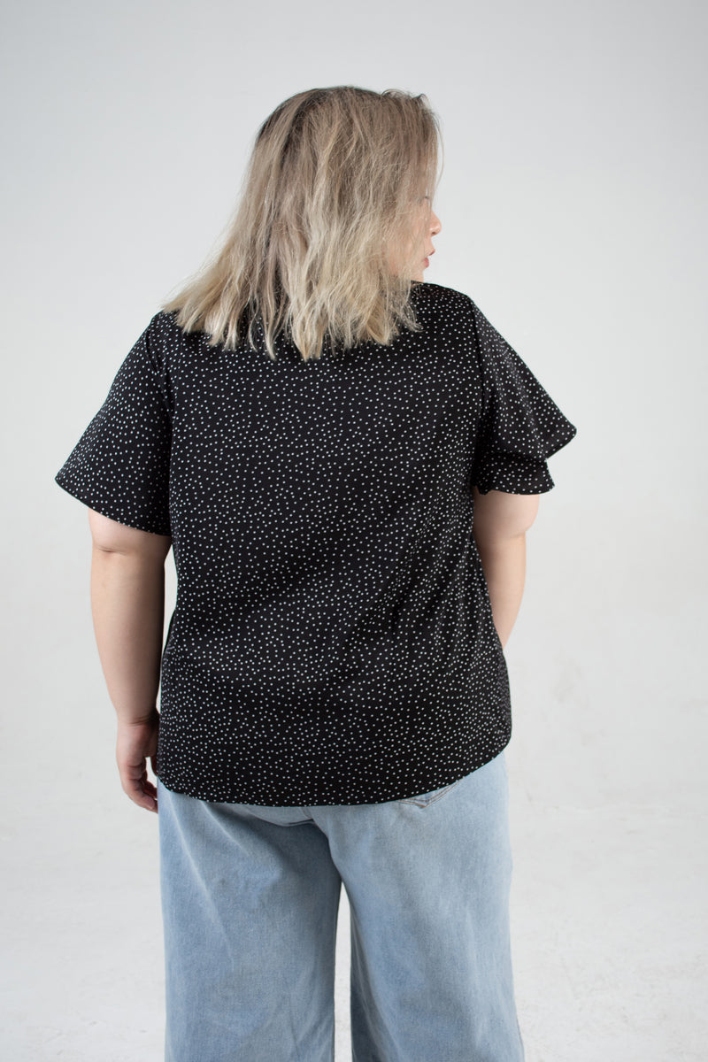 Dot Print Ruffle Front Detail Blouse In Black