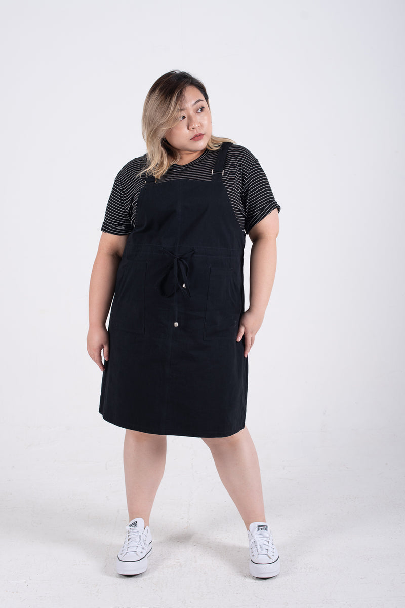 Dungaree Dress In Black