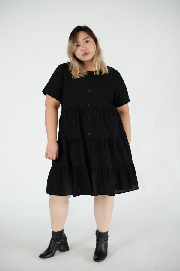 Tiered Dress In Black