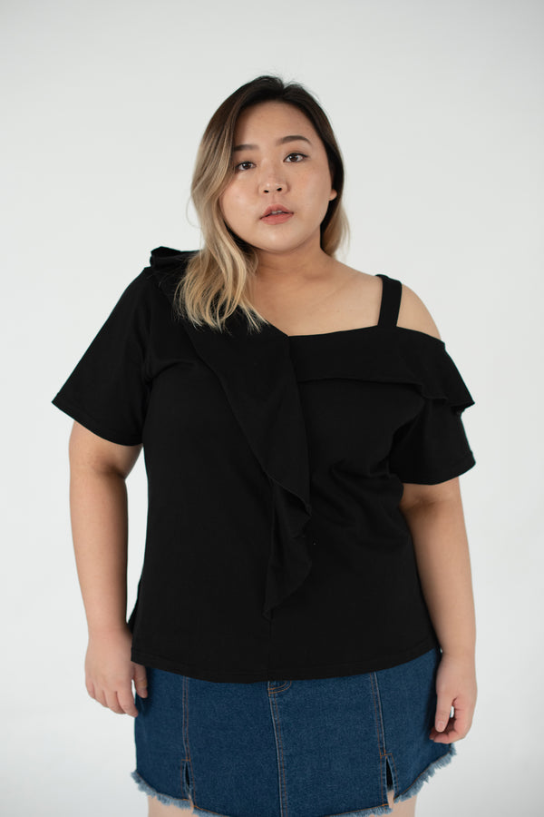 Ruffle Front Cold Shoulder Top In Black