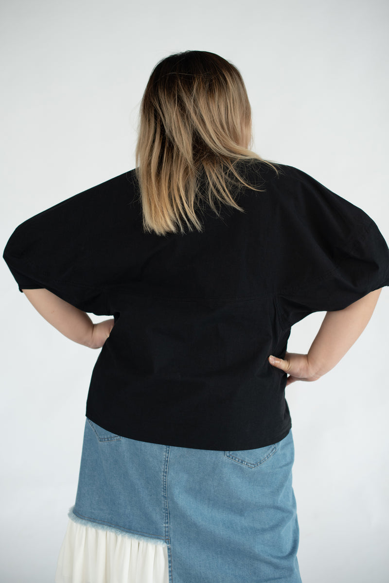 Puff Sleeves Blouses In Black