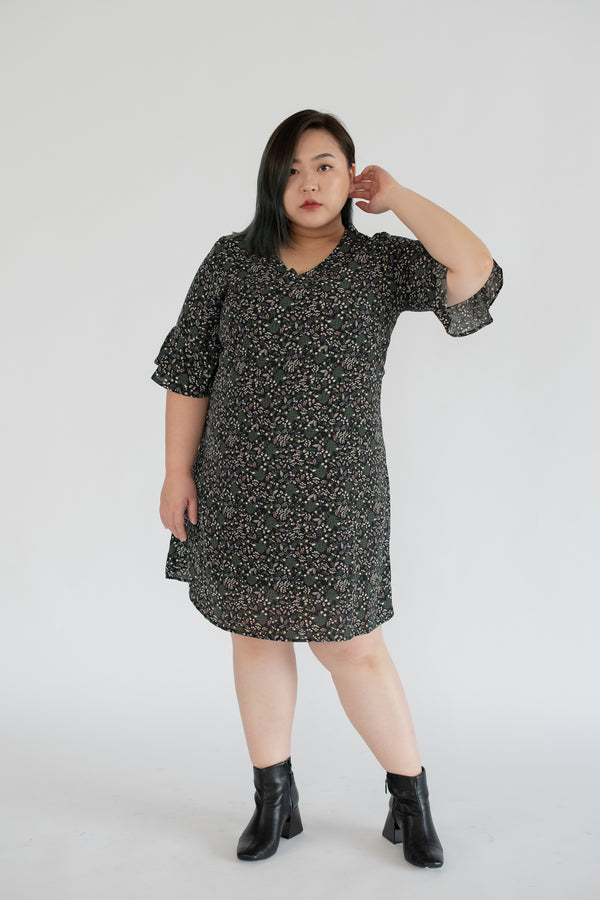 V-Neck Floral Dress In Black With Flared Sleeves