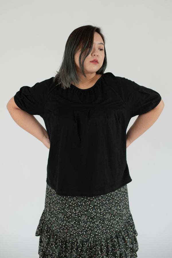 Oversized Puff Sleeves Top In Black