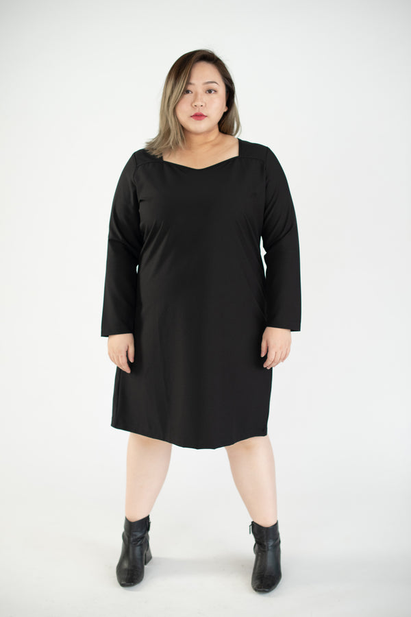 Sweetheart Neck Dress In Black