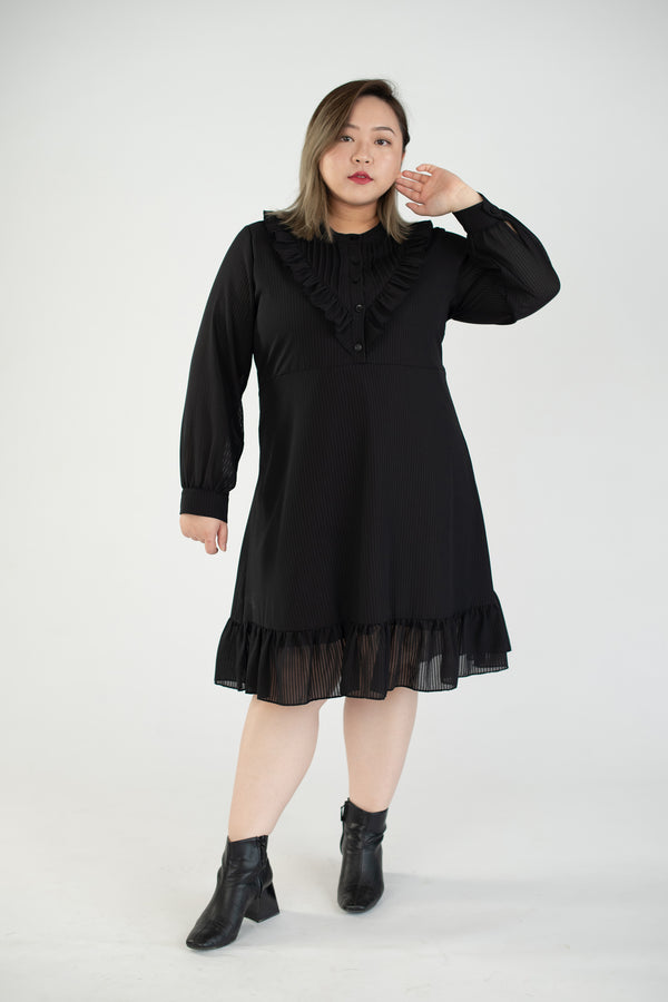 Chiffon Dress In Black With Ruffle Details