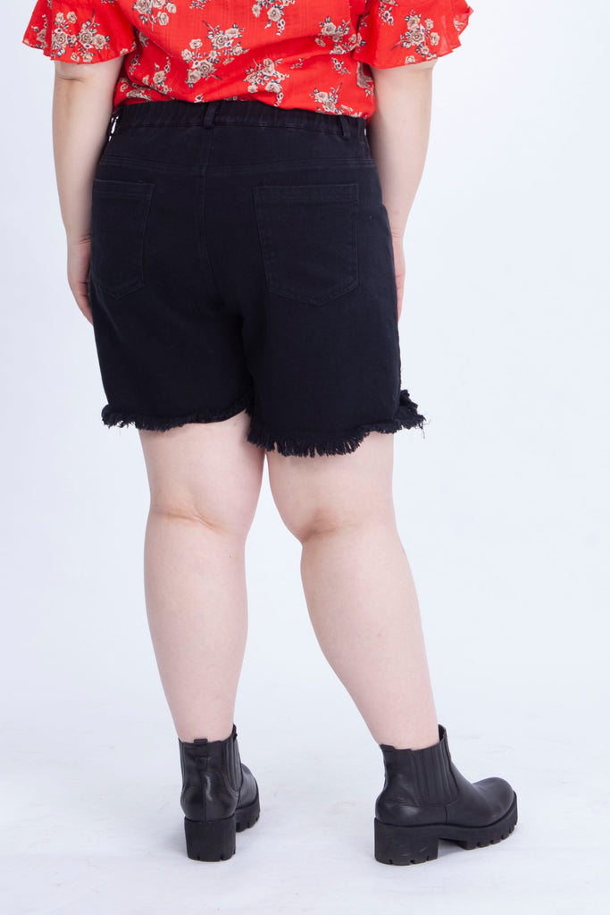 Black Short with Rip Details