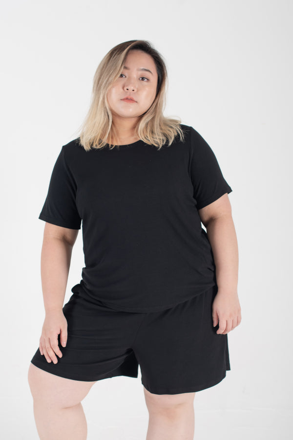 Ribbed Round Neck T-Shirt In Black