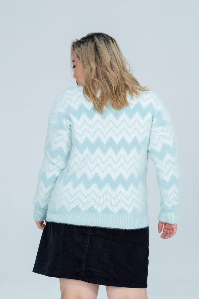 Print Knit In Blue