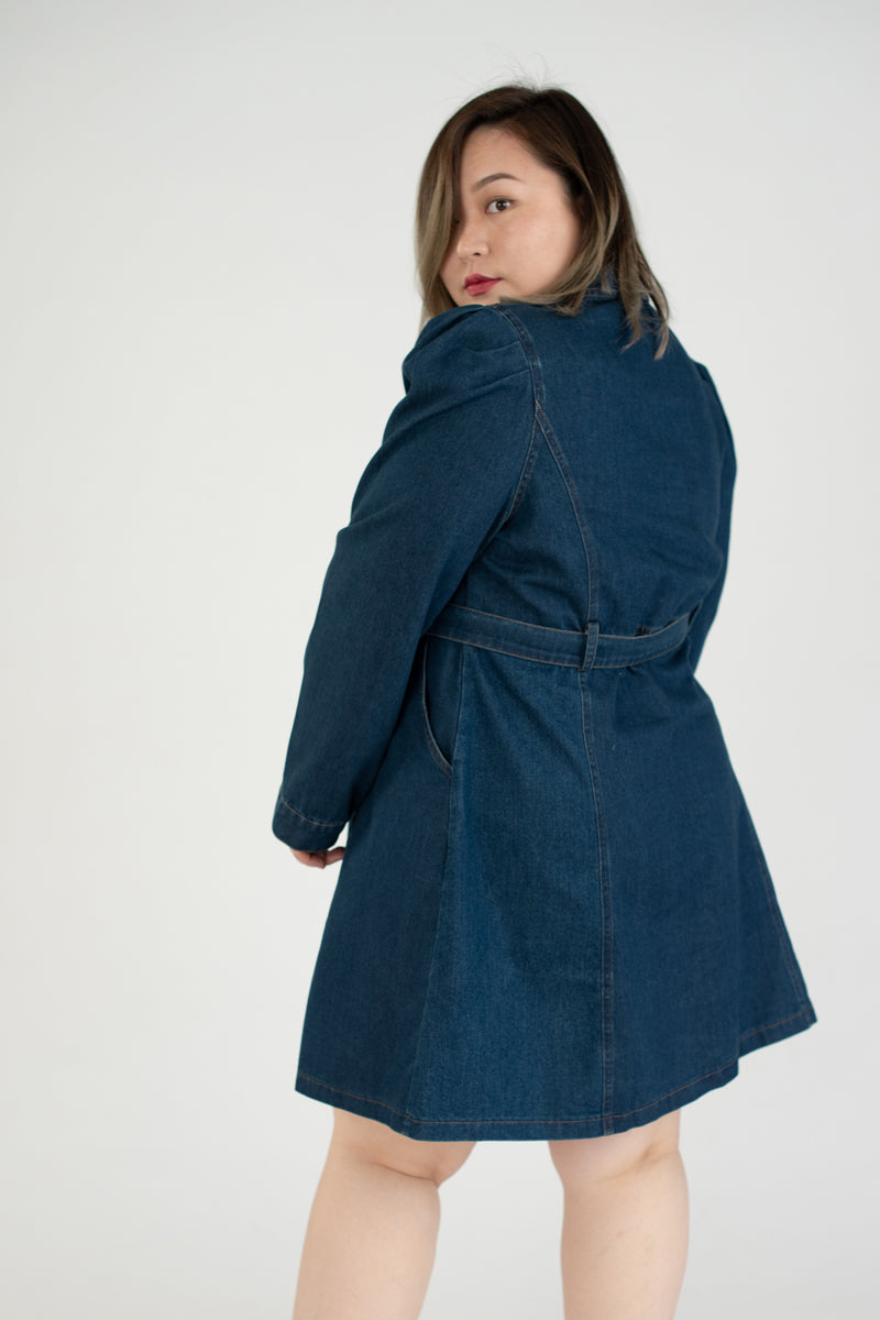 Denim Dress With Puff Sleeves In Dark Blue Denim