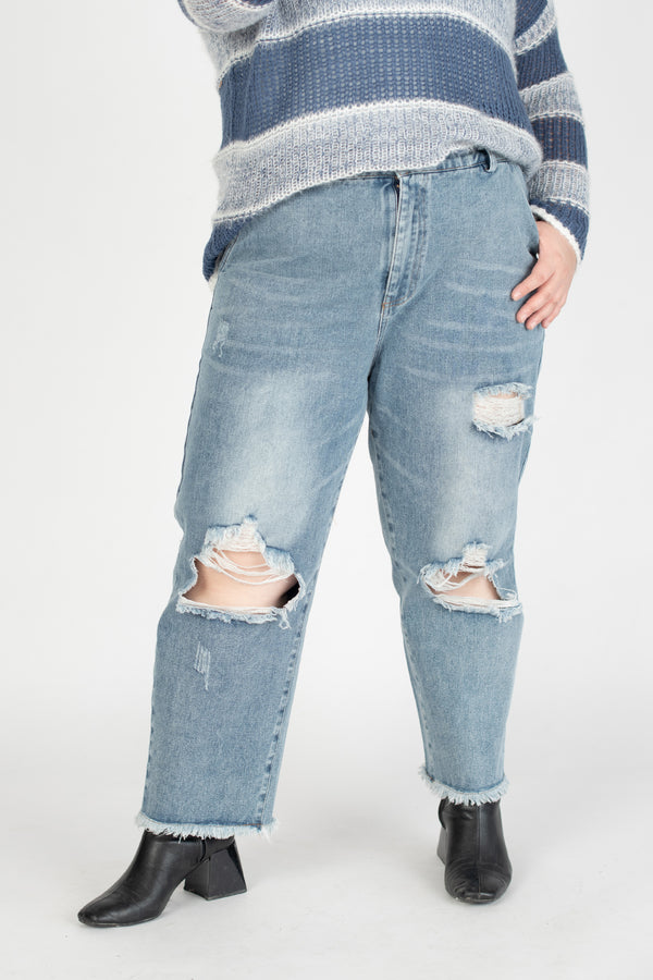 Mom Jeans With Ripped Details