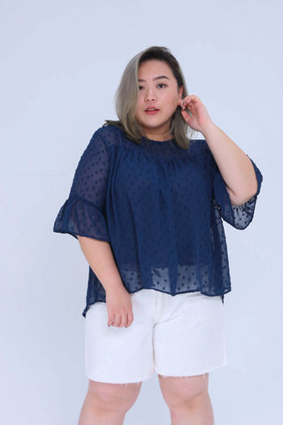 Blue Shirt With Ruffle Sleeves