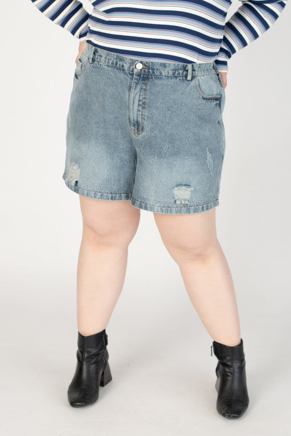 Denim Shorts With Ripped Details
