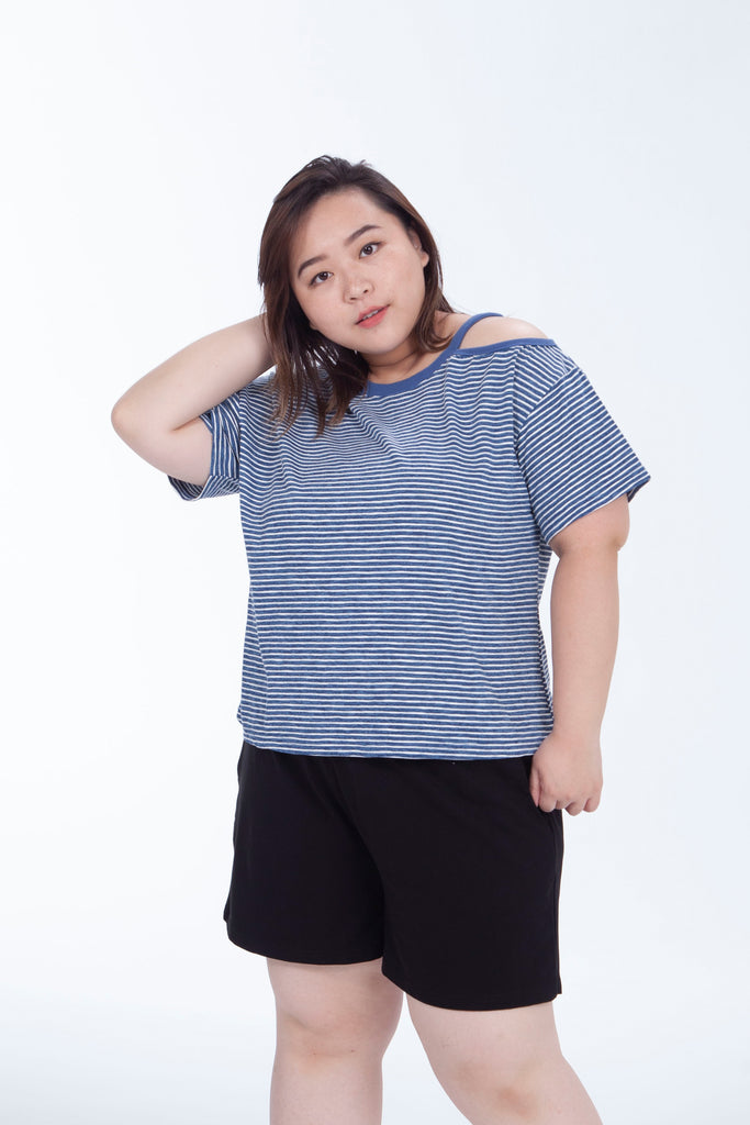 Basic Blue Cutout T-Shirt In Stripe