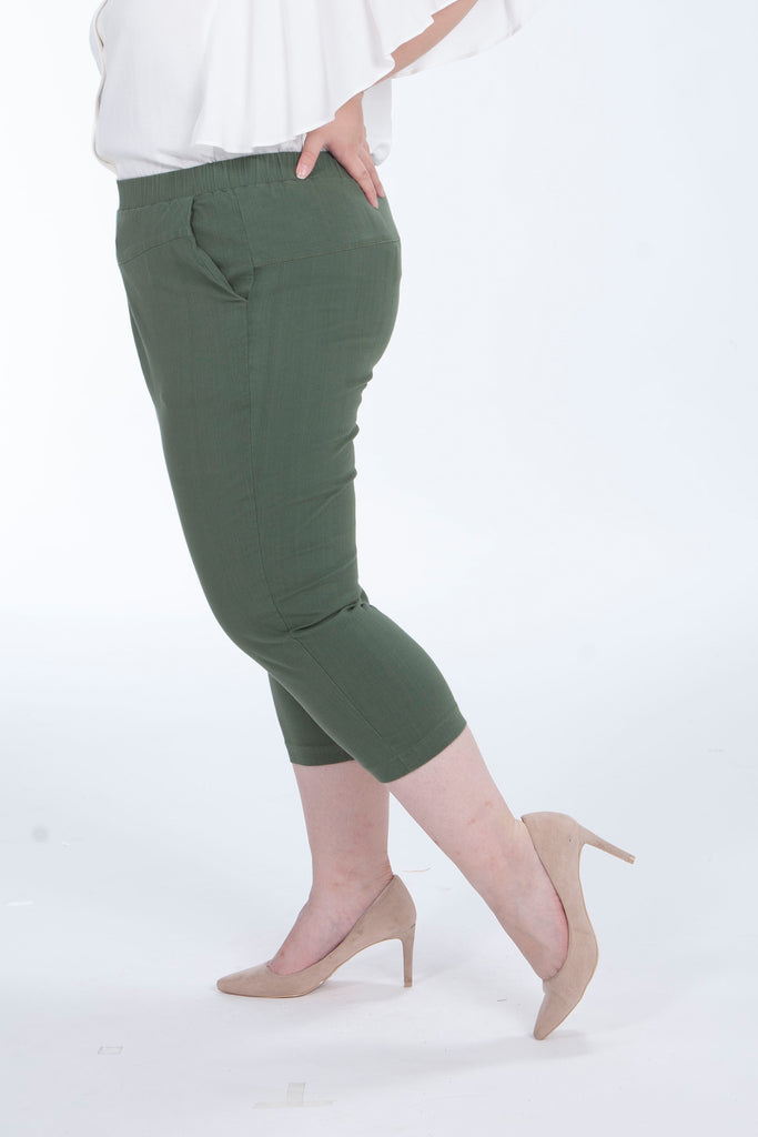 Stretch Waistband Trousers In Olive