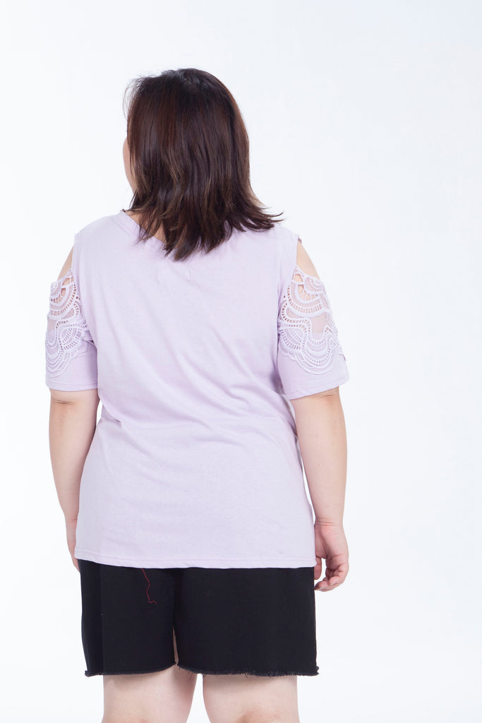 Purple Cold Shoulder Top With Lace