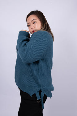 Jumper In Blue With Buckle Details