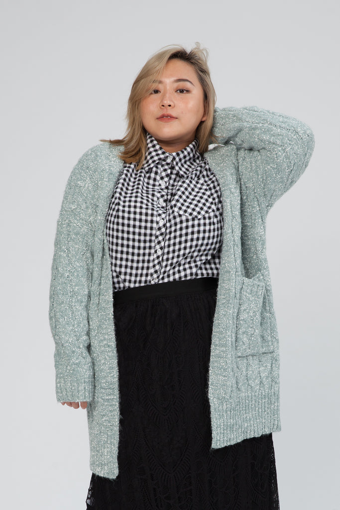 Long Cable Knitted Cardigan In Light Green