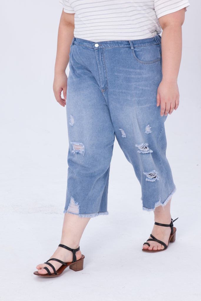 Wid-leg Denim Trousers With Ripped Details
