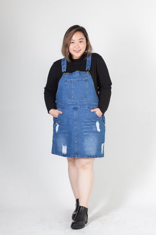 Denim Dungaree Dress in Mid Washed Blue