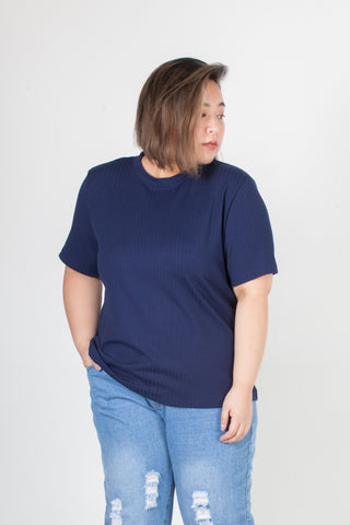 Blue Ribbed Tee