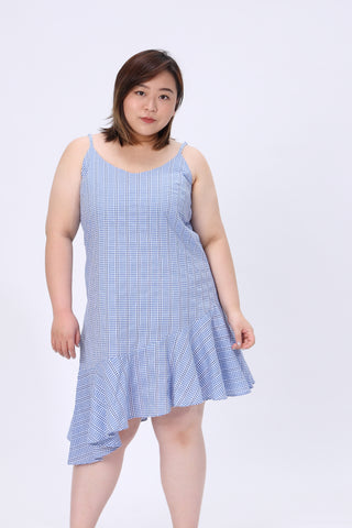 Blue Cami Dress In Check Print
