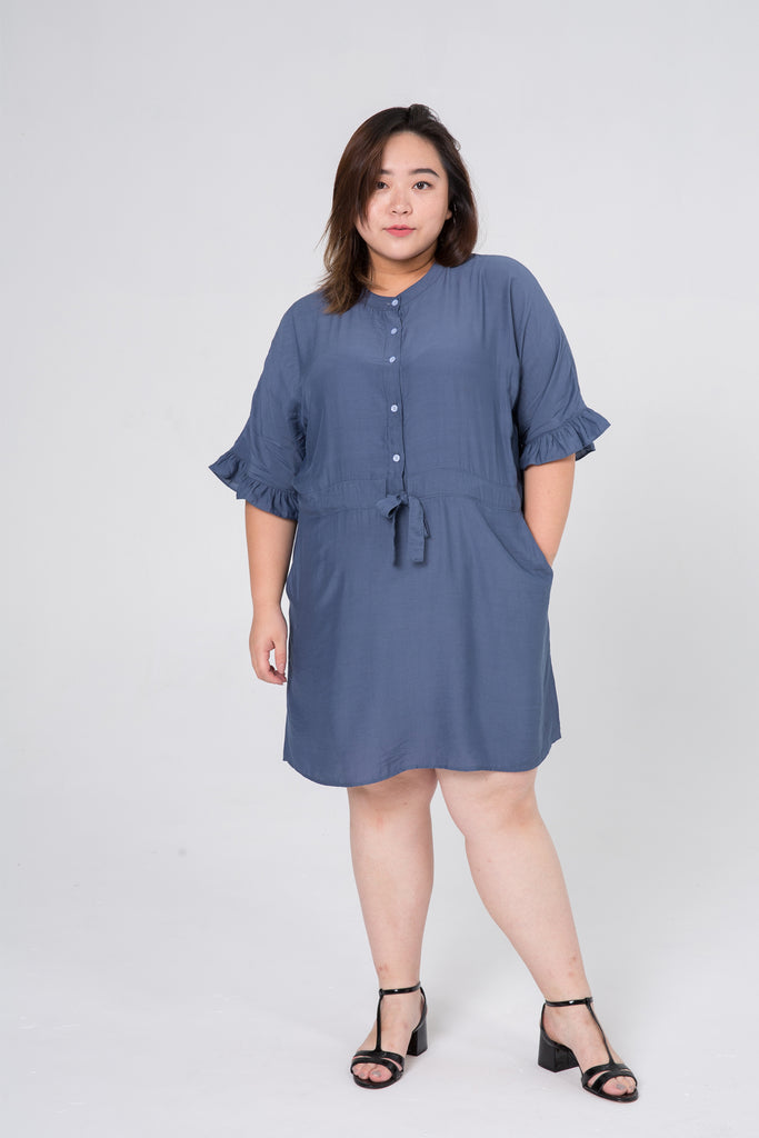 Ruffle Sleeves Dress In Blue