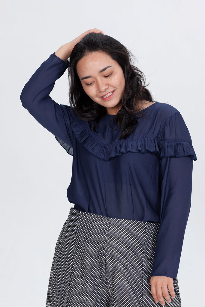 Blue Blouses With Ruffle Detail
