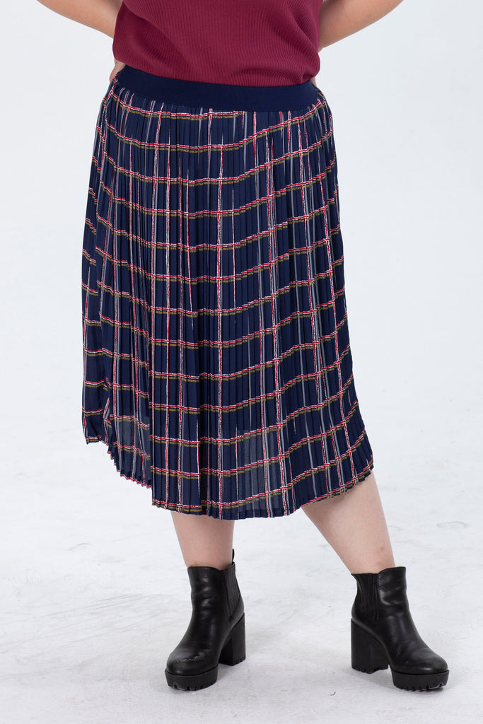 Pleated Skirt In Check Print