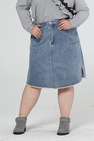 Side Pockets Denim Midi Skirt