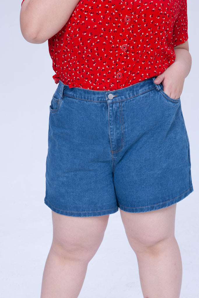 High-rise Waist Denim Shorts