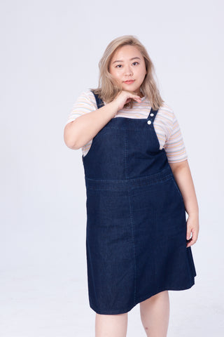 Denim Dungaree Dress In Washed Black