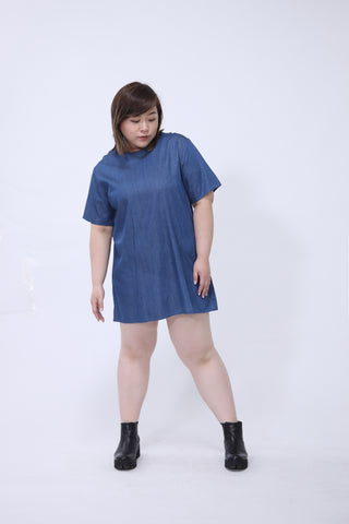 Denim Short Sleeve One Piece Dress