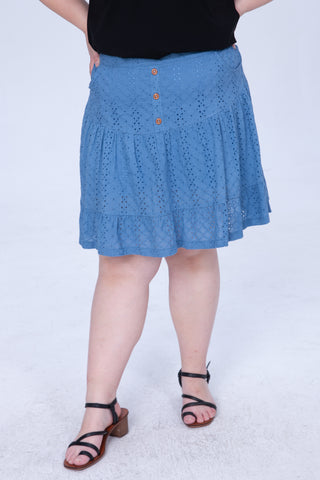 Broderie Culotte Shorts In Denim Blue