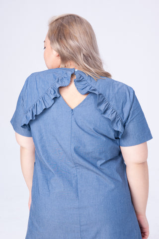 Back Ruffle Hem Dress In Denim