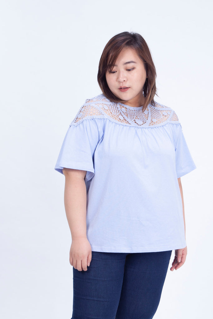 Lace Insert Top In Blue