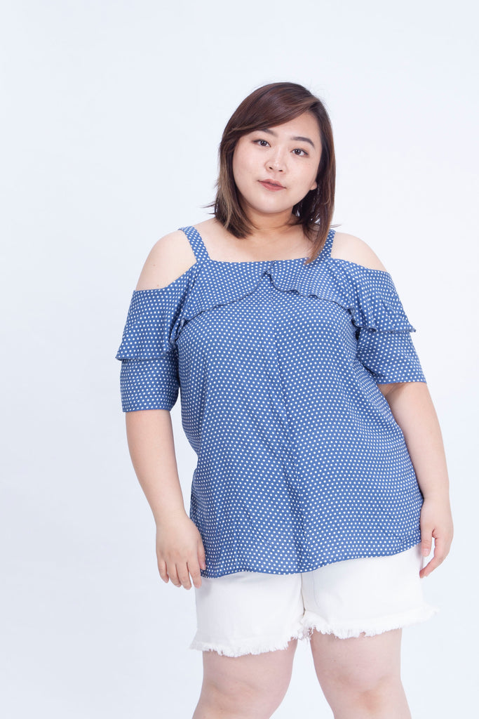 Ruffle Front Cami Top In Blue Polka Dot